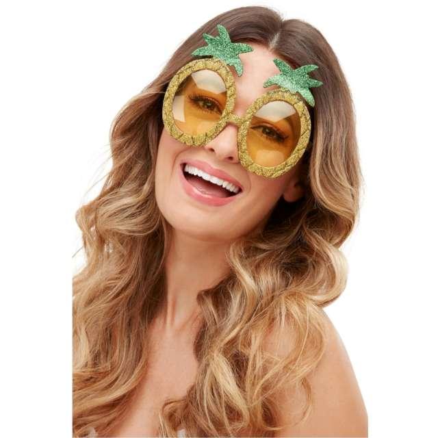 Okulary party Tropikalny ananas brokatowe złote Smiffys