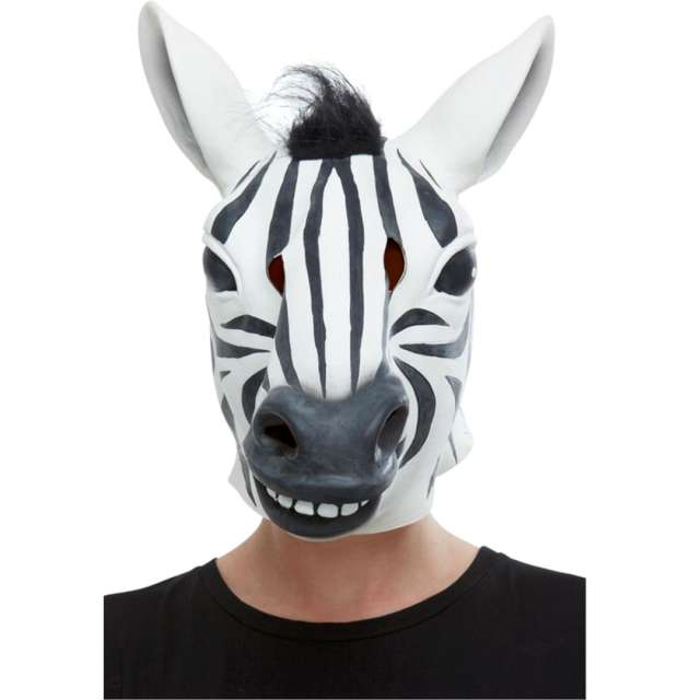 """Maska lateksowa """"Zebra"""", czarno - biała, Smiffys"""