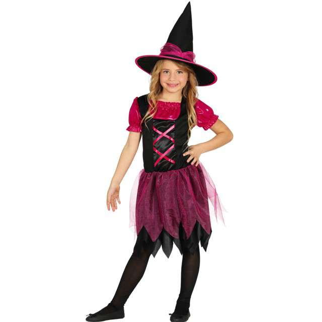 Strój dla dzieci Czarownica brokatowa różowo- czarna Guirca 7-9 lat