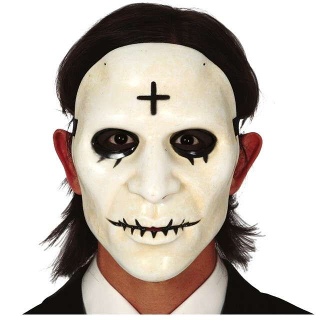 Maska Mężczyzna z krzyżem plastikowa Guirca