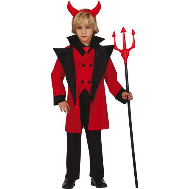 """Strój dla dzieci """"Piekielny diabeł"""", czarno-czerwony, Guirca, 5-6 lat"""