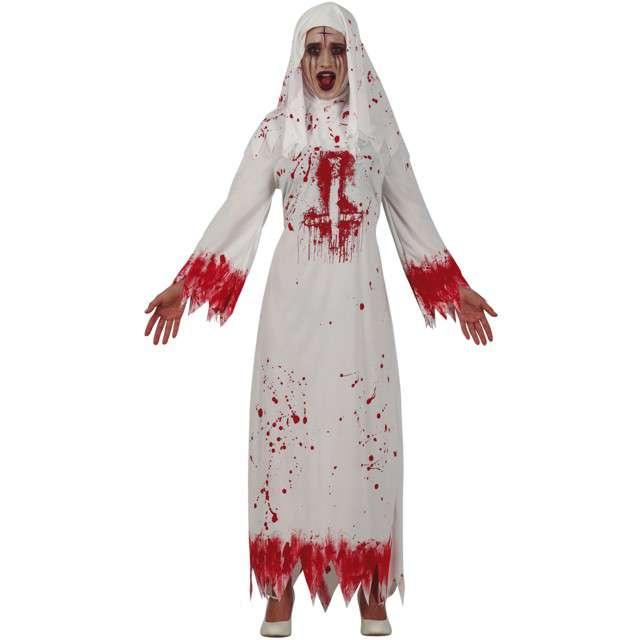 Strój dla dorosłych Zakonnica krwawa biało-czerwony Guirca rozm. M