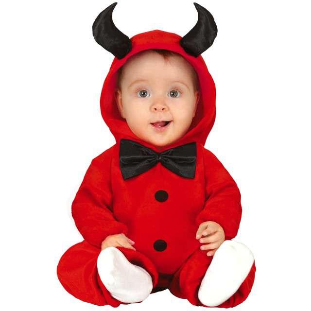 """Strój dla dzieci """"Diabeł z rogami i muszką"""", czerwony, Guirca, 12-18 mies."""