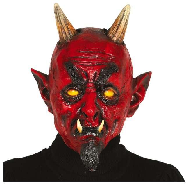 Maska Diabeł z rogami lateksowa GUIRCA