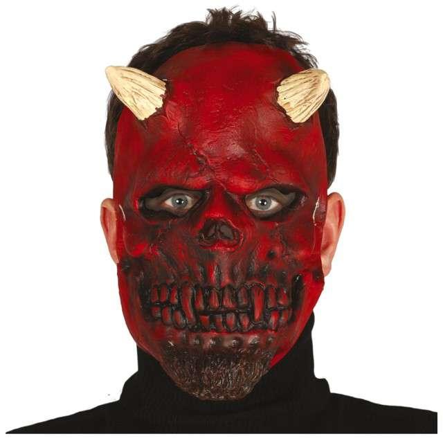 Maska Demon z rogami lateksowa GUIRCA