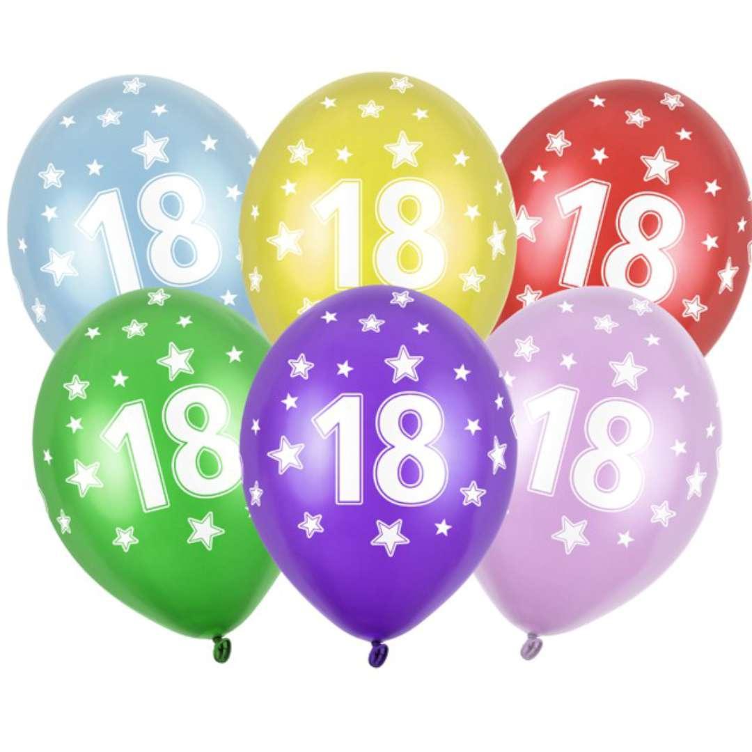 """Balony 14"""", """"Liczba 18"""", STRONG, metallic mix, 6 szt"""