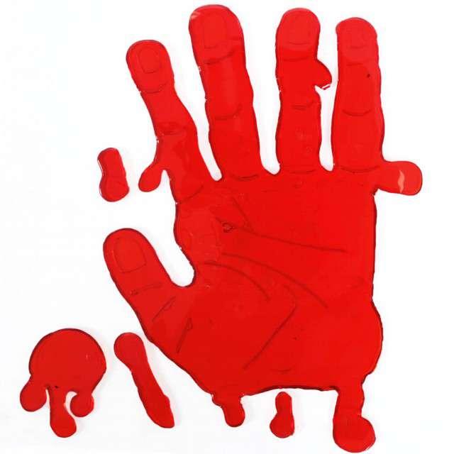 Dekoracja żelowa Dłoń ręka halloween czerwona Guirca 19 cm