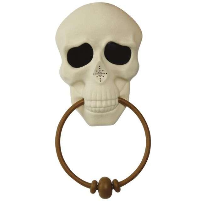 """Dekoracja drzwi """"Kołatka czaszka"""", biała,Guirca, 30 cm"""