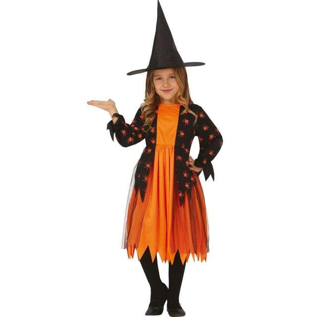 """Strój dla dzieci """"Czarownica z pająkami"""", pomarańczowo - czarny, Guirca, 7-9 lat"""