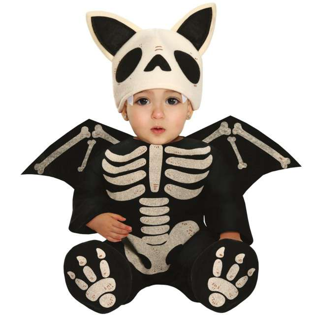 """Strój dla dzieci """"Nietoperz szkielet z uszami"""", czarny, Guirca, 18-24 miesiące"""