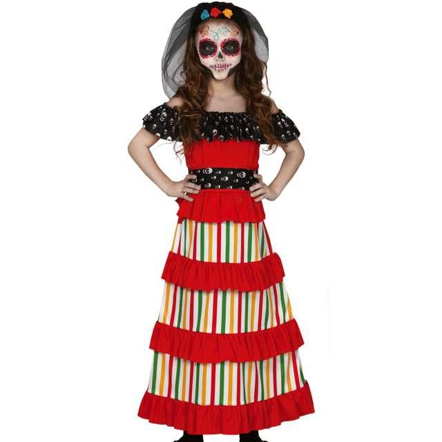 """Strój dla dzieci """"Meksykańska szkieletorka"""", wielokolorowa, Guirca, 7-9 lat"""
