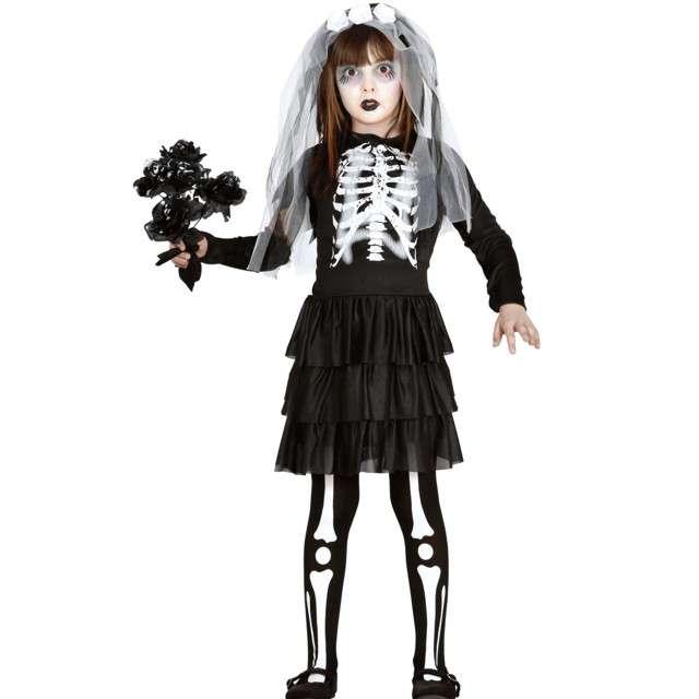 """Strój dla dzieci """"Kościotrup panny młodej"""", czarno-biały, Guirca, 7-9 lat"""