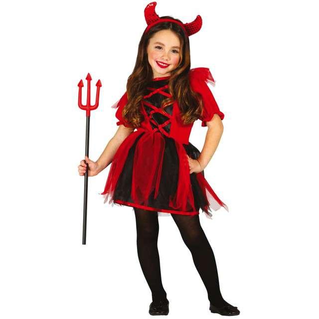 Strój dla dzieci Diabełek diablica czerwono- czarny Guirca 7-9 lat