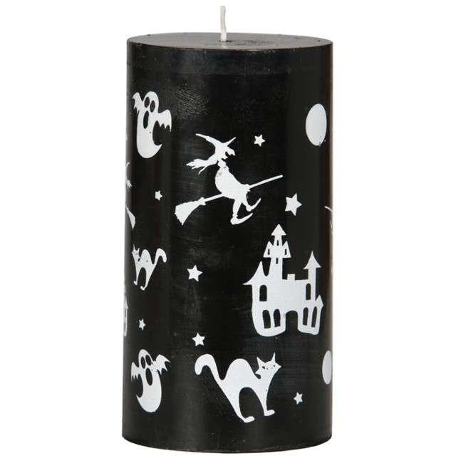 """Świeca pieńkowa """"Hallowen"""", czarna, Guirca, 13x7 cm"""