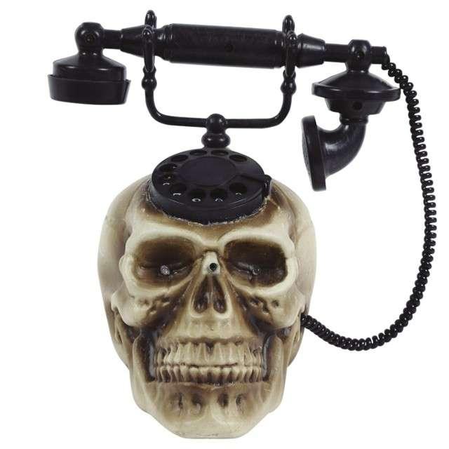 Dekoracja Czaszka z telefonem szaro - czarna Guirca