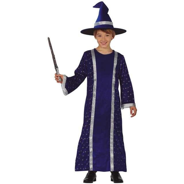 Strój dla dzieci Czarnoksiężnik w kapeluszu granatowy Guirca rozm. 7-9 lata