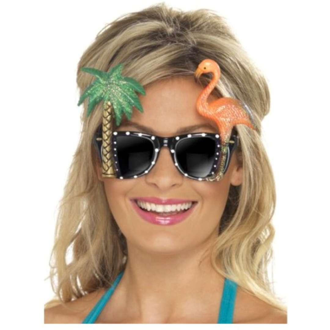 """Okulary party """"Flaming i palma"""", czarne z cyrkoniami, Smiffys"""