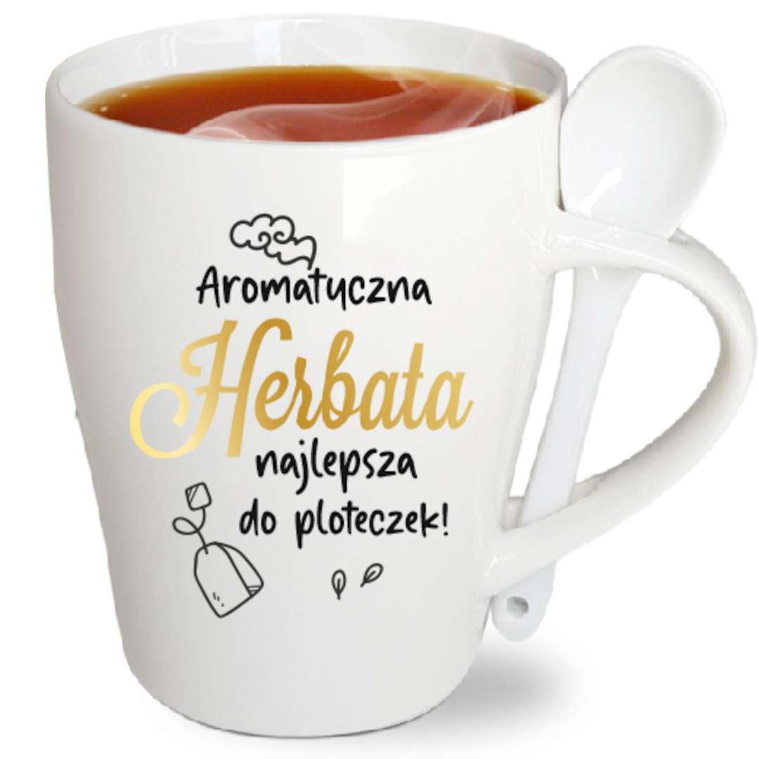 """Kubek z nadrukiem """"Herbata najlepsza do ploteczek"""", biały z nadrukiem, z łyżeczką, BGtech, 340 ml,"""