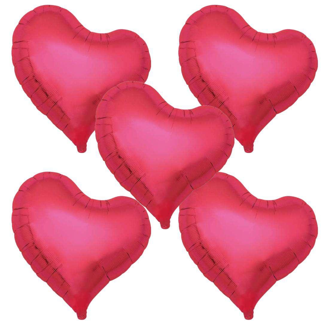 Balon foliowy 5 serc metaliczny czerwony Ibrex 18 5szt.