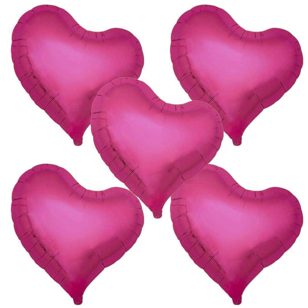 Balon foliowy 5 serc purpurowy Ibrex 18 5szt