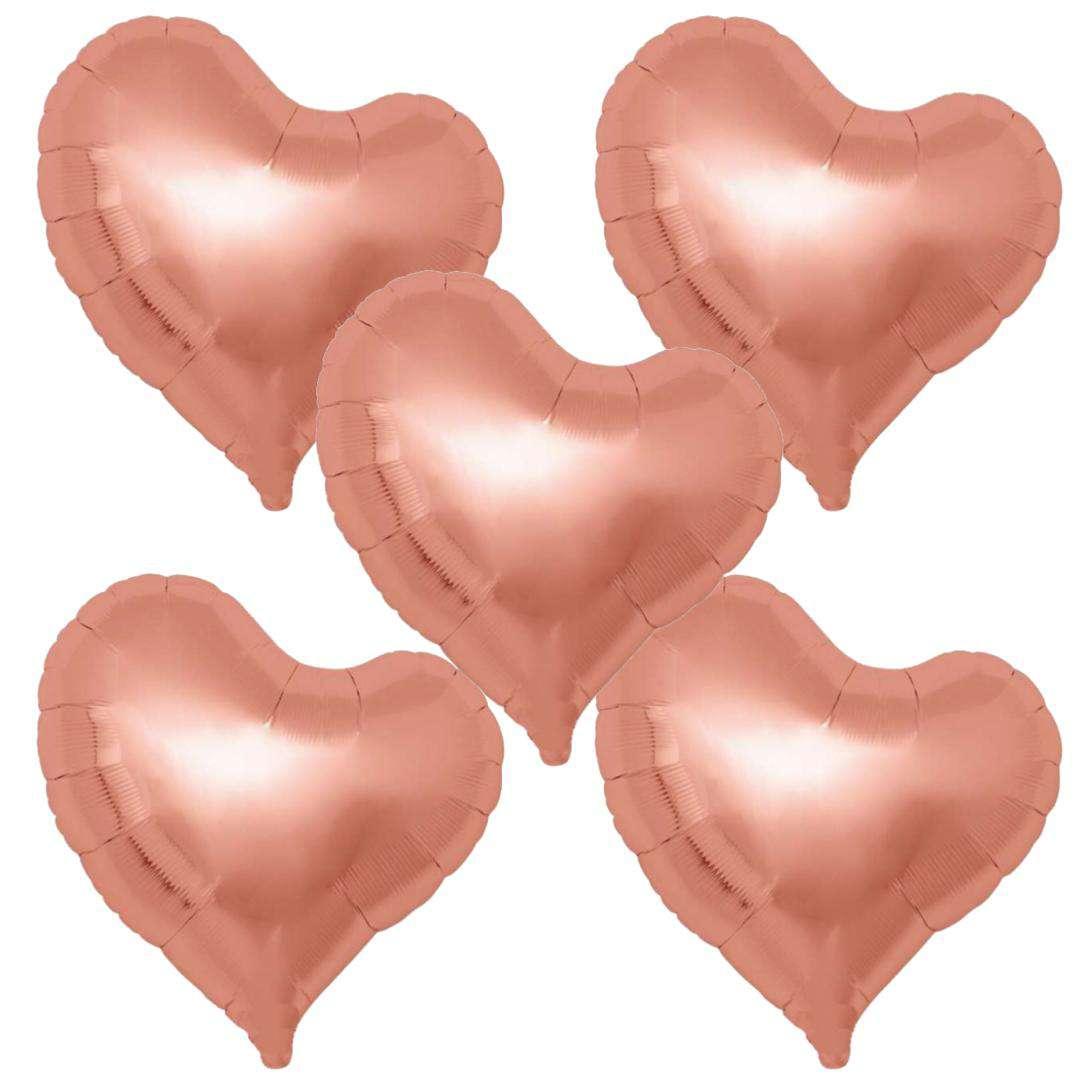 """Balon foliowy """"5 serc"""", różowo-złoty, Ibrex, 14"""", 5 szt"""