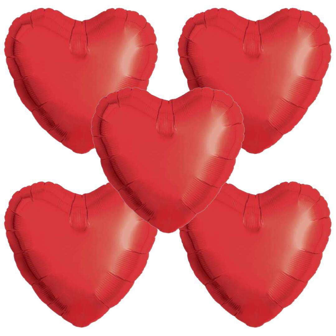 Balon foliowy 5 serduszek czerwony Ibrex 14 5szt