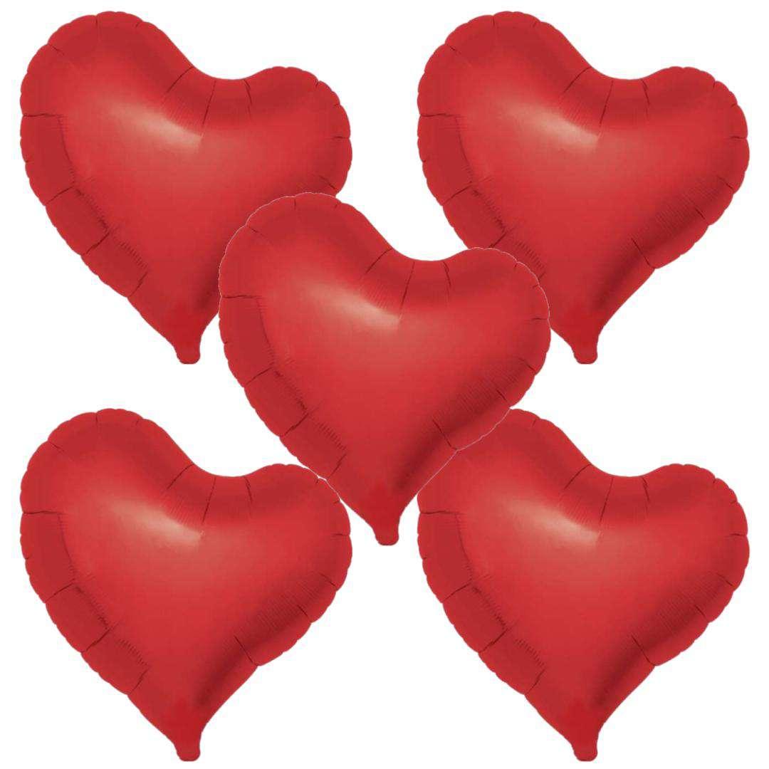 Balon foliowy 5 serc  czerwony Ibrex 14 5szt