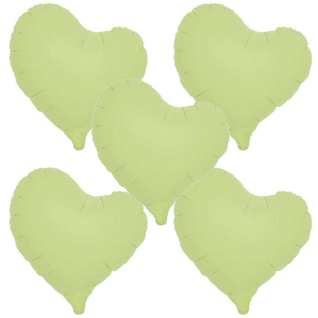 Balon foliowy 5 serc  zielony Takarakosan 14 5szt.
