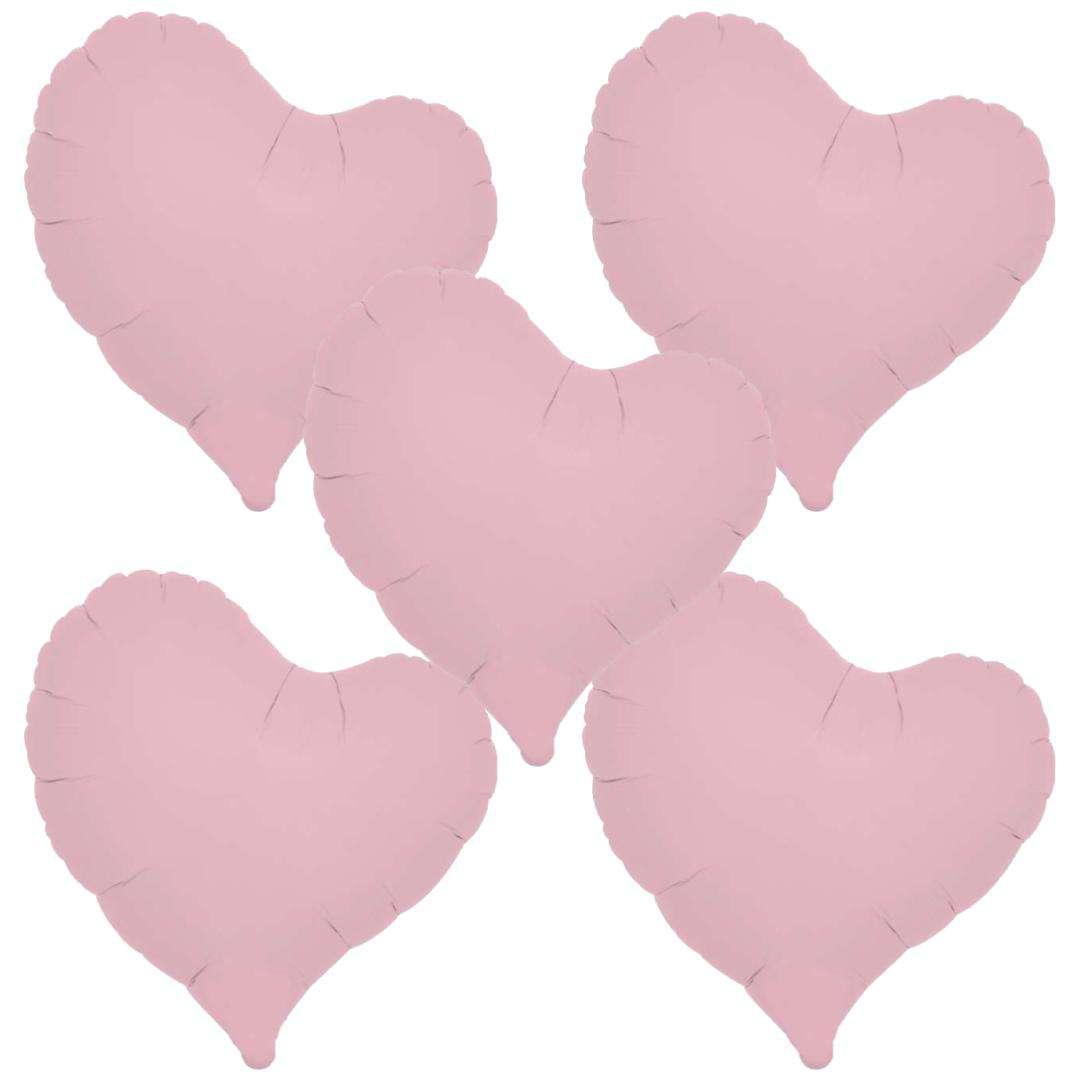 _xx_Balon foliowy SERCE pastelowy różowy 14 - 5 szt.
