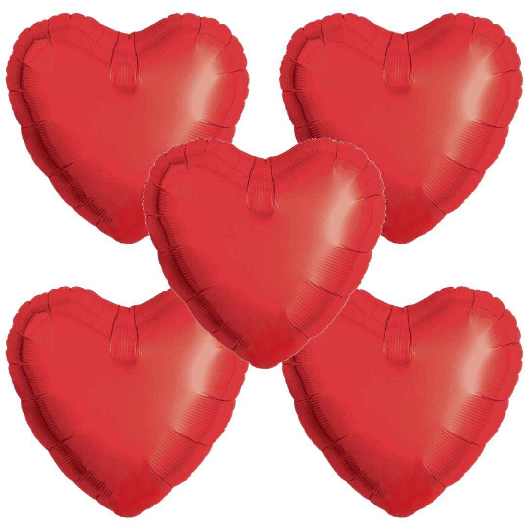 Balon foliowy 5 serduszek czerwony Ibrex 18 5szt