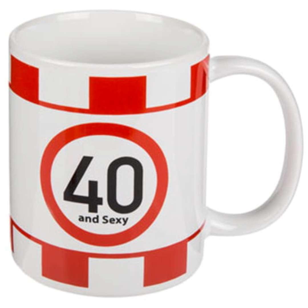 """Kubek urodzinowy """"40 And Sexy"""", biały, Kemiś, 300 ml"""