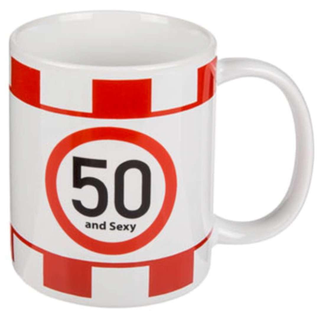 """Kubek urodzinowy """"50 And Sexy"""", biały, Kemiś, 300 ml"""