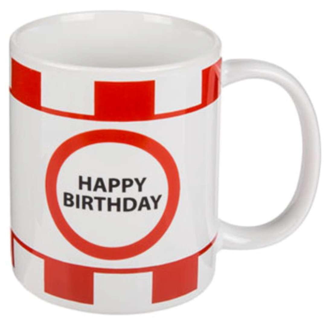 """Kubek """"Happy Birthday"""", biało-czerwony, Kemiś, 300 ml"""