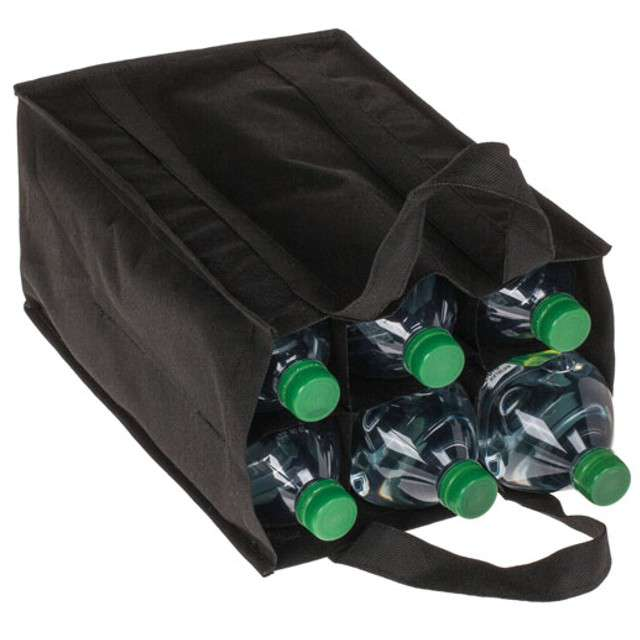 """Torba na zakupy """"6 butelek"""", czarna, Kemiś, 26x37 cm"""
