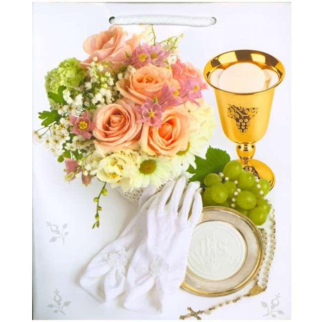 Torebka prezentowa I Komunia - Kielich i herbaciane róże Pol-Maki 19x23x105 cm