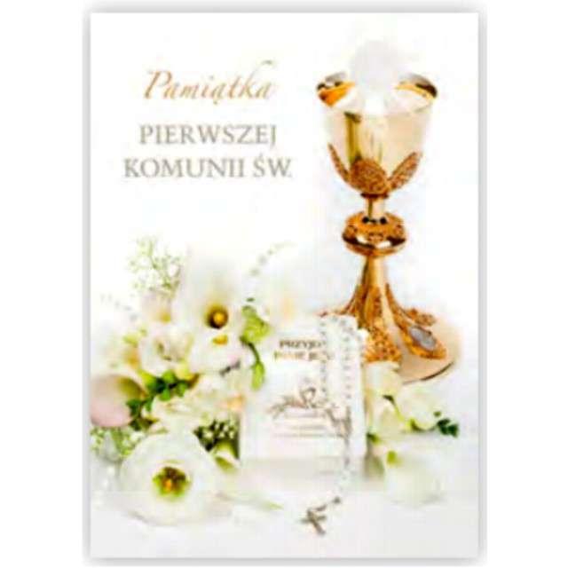 Pamiątka I Komunia Św.- Kielich i książeczka Pol-Maki 17x12 cm