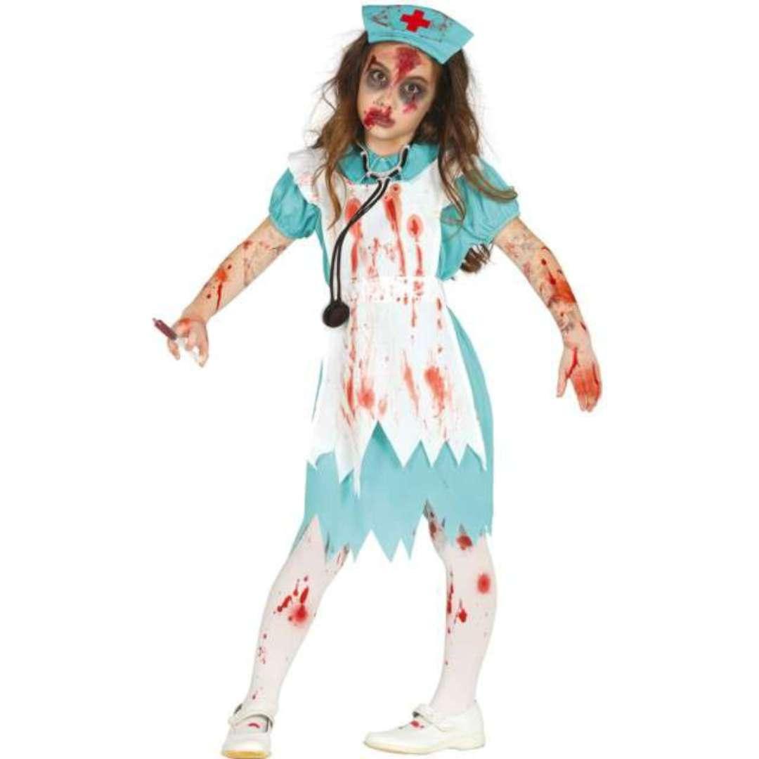 """Strój dla dzieci """"Pielęgniarka Zombie"""", błękitno-biała, Guirca, 3-4 lata"""
