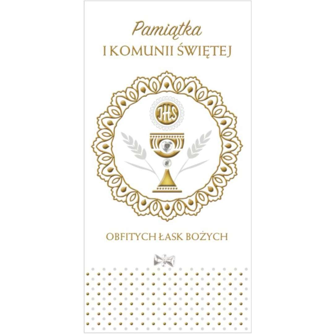 """Pamiątka """"I Komunia Św.- Hostia w okręgu"""", Pol-Maki , 21x10,5cm"""