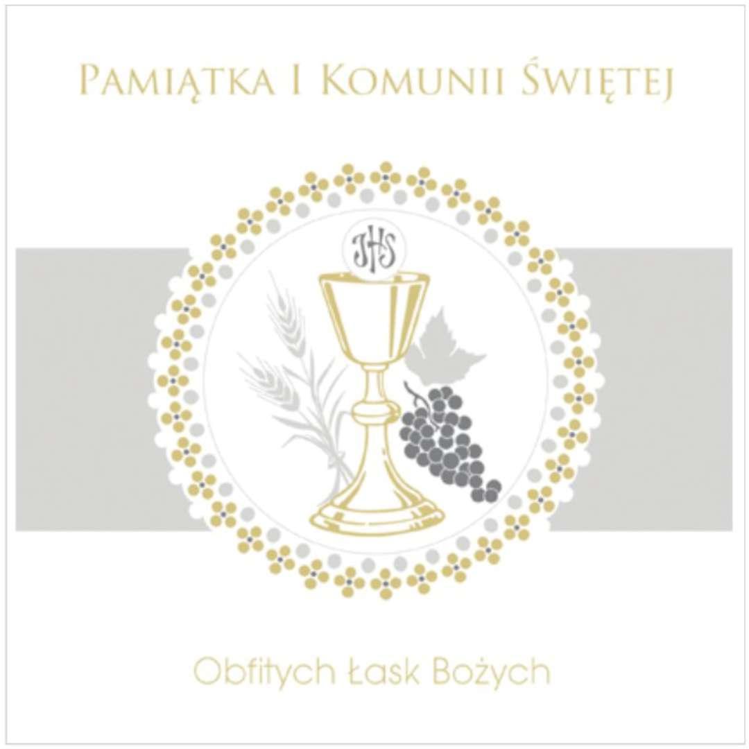 """Pamiątka """"I Komunia Św.- Hostia w kółku"""", Pol-Maki , 15x15 cm"""