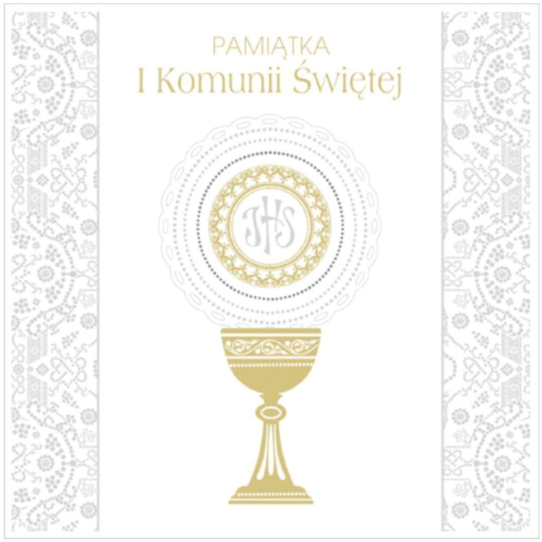 """Pamiątka """"I Komunia Św.- Hostia i koronka"""", Pol-Maki , 15x15 cm"""