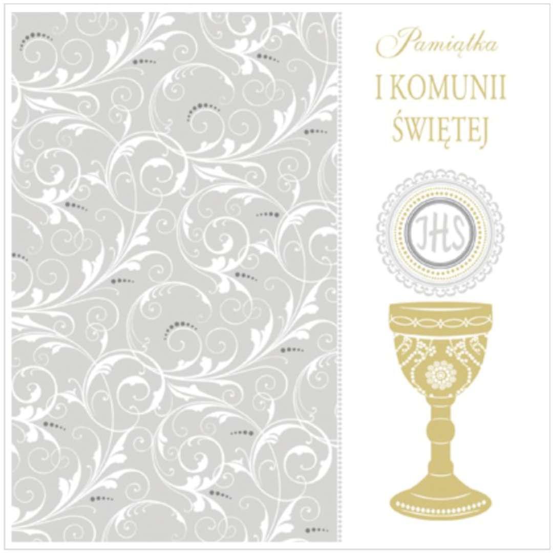 """Pamiątka """"I Komunia Św.- Hostia ze zdobieniami"""", Pol-Maki , 15x15 cm"""