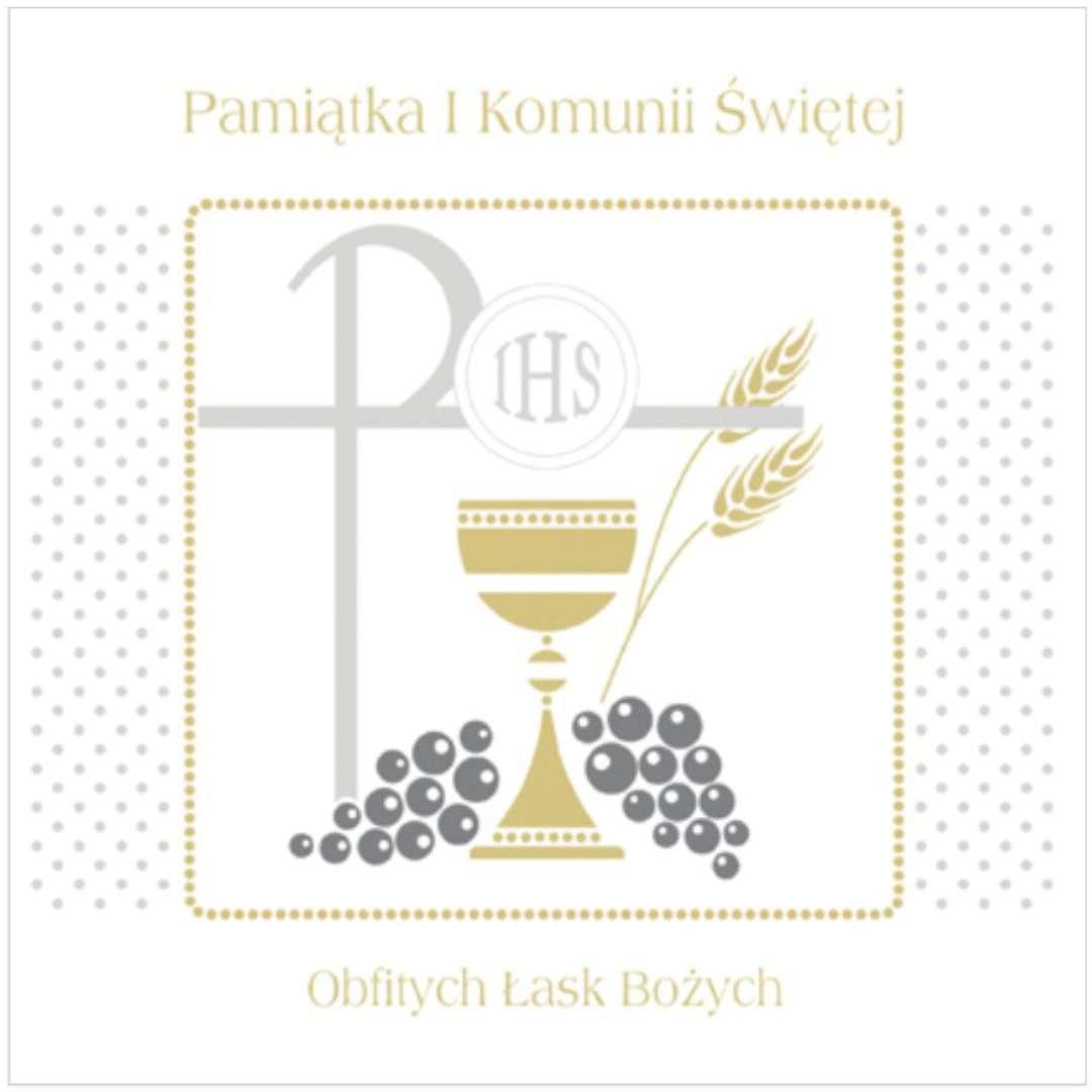 """Pamiątka """"I Komunia Św.- Hostia i winogrono"""", Pol-Maki , 15x15 cm"""
