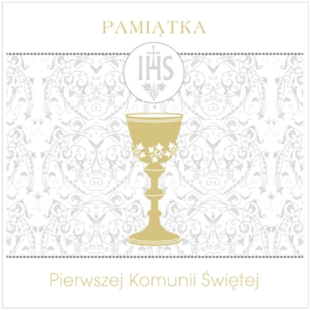"""Pamiątka """"I Komunia Św.- Hostia i ornamenty"""", Pol-Maki , 15x15 cm"""