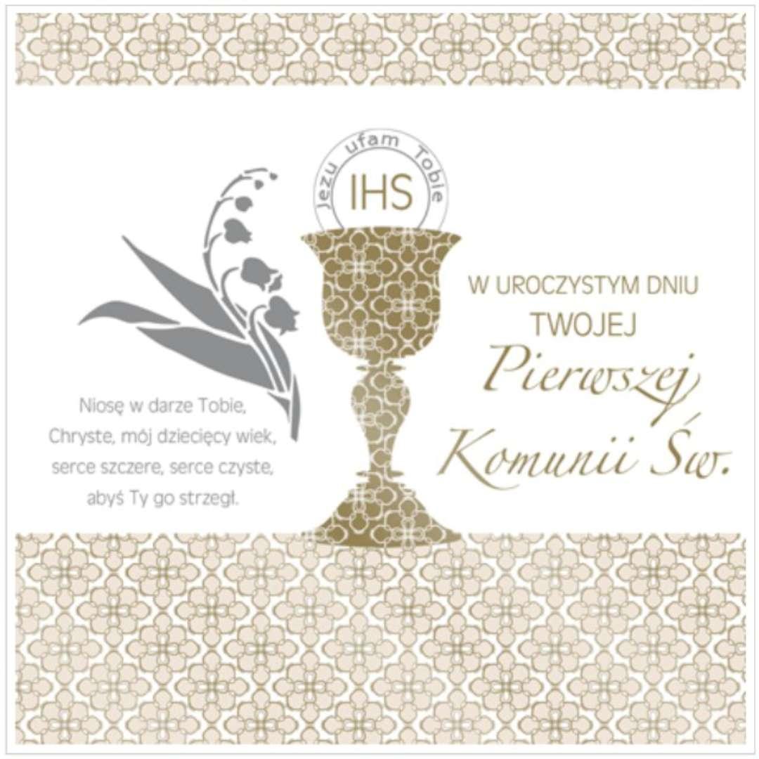 """Pamiątka """"I Komunia Św.- Hostia i kłosy"""", Pol-Maki , 15x15 cm"""