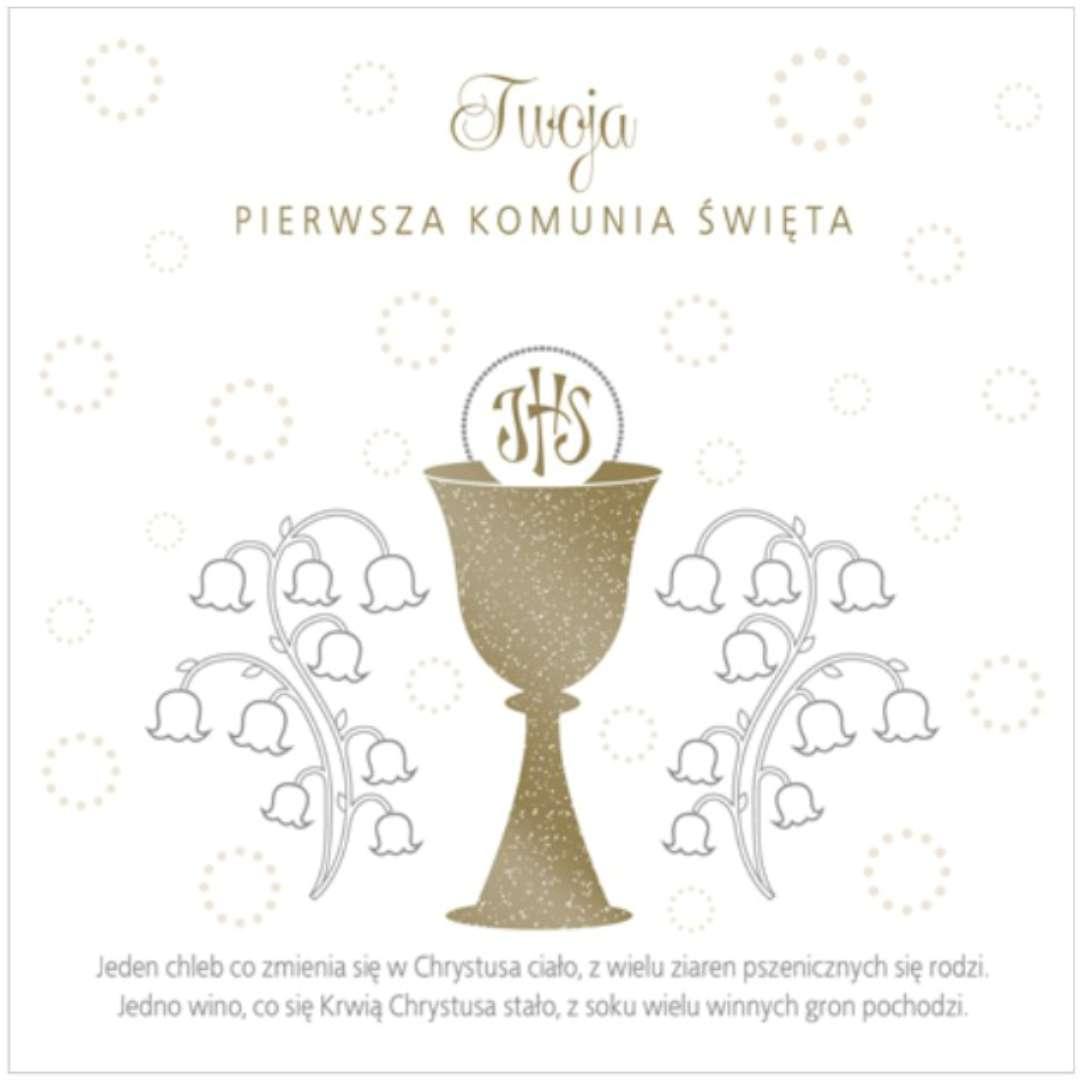 """Pamiątka """"I Komunia Św.- Hostia i konwalie"""", Pol-Maki , 15x15 cm"""