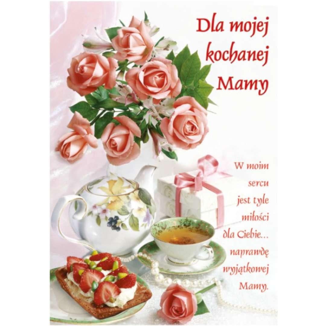 """Kartka z pozytywką """"Dzień Matki - Dla Kochanej Mamy, herbatka"""", Pol-Maki, 14x20 cm"""