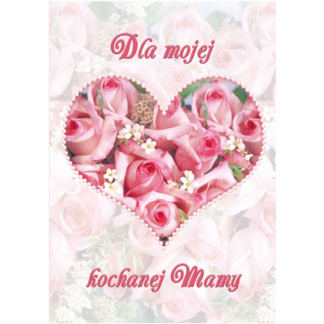 """Kartka z pozytywką """"Dzień Matki - Dla Mojej Kochanej Mamy, serce"""", Pol-Maki, 14x20 cm"""