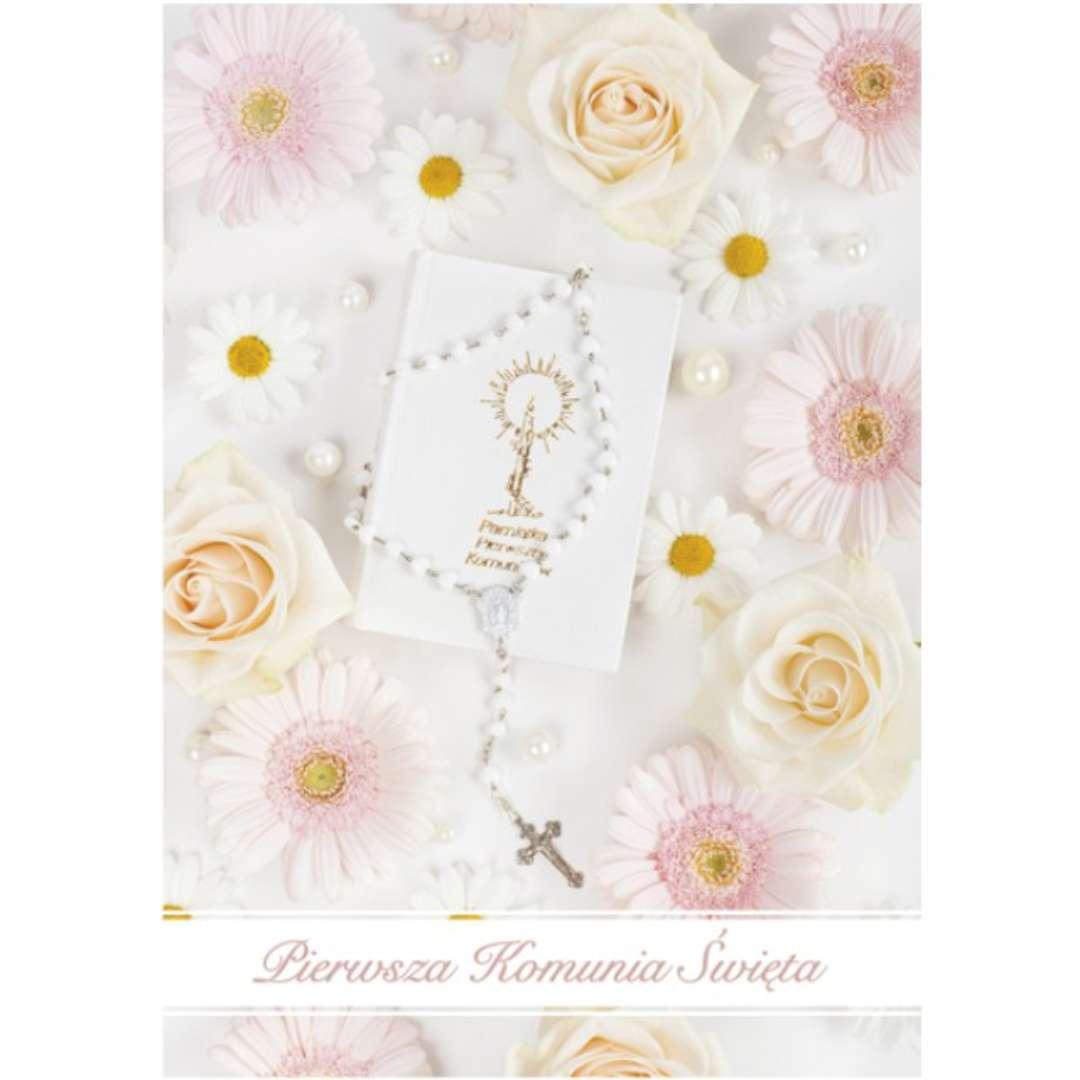 """Pamiątka """"I Komunia Św.- Herbaciane róże"""", Pol-Maki, 17x12cm"""