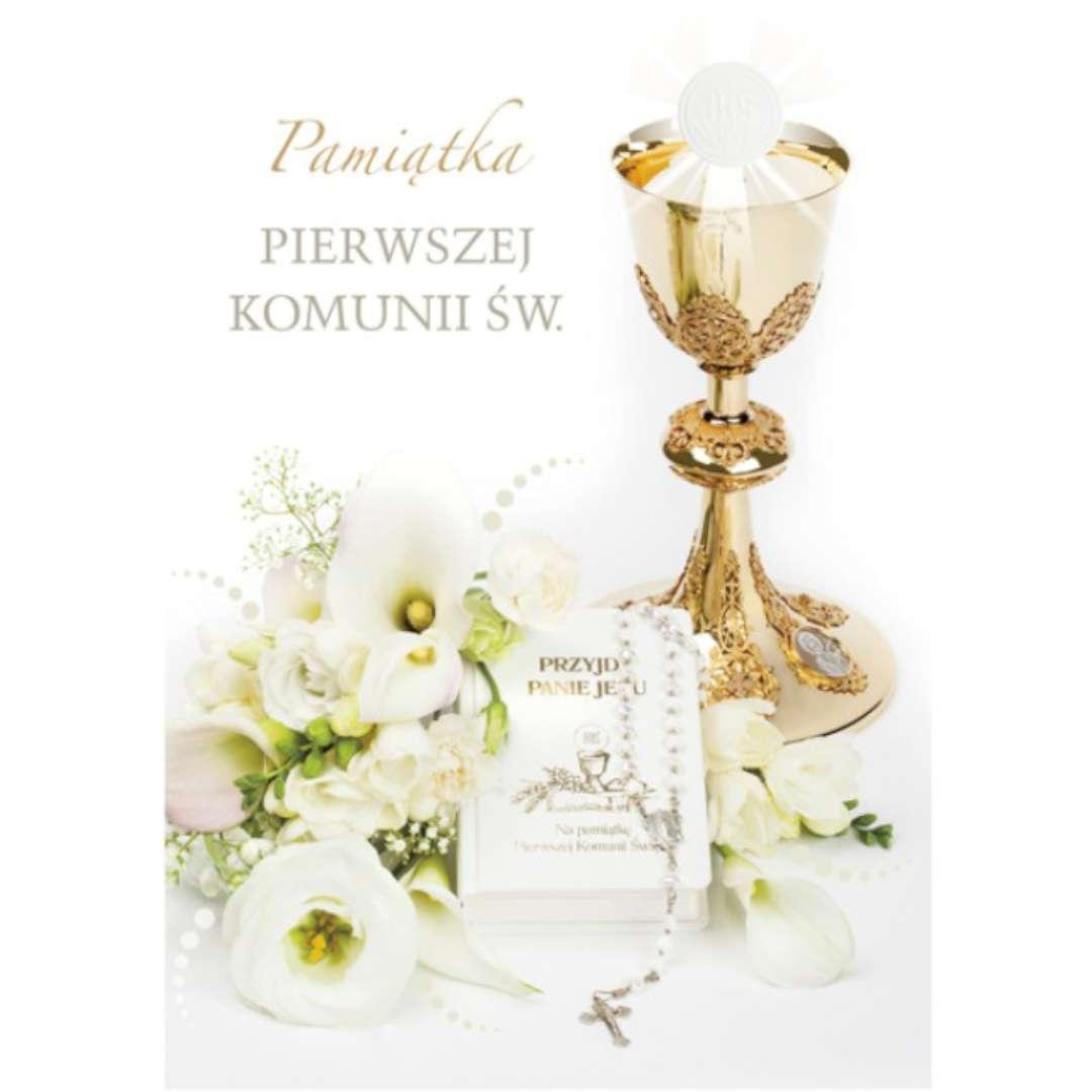 """Pamiątka """"I Komunia Św.- Kielich i książeczka"""", Pol-Maki, 17x12 cm"""