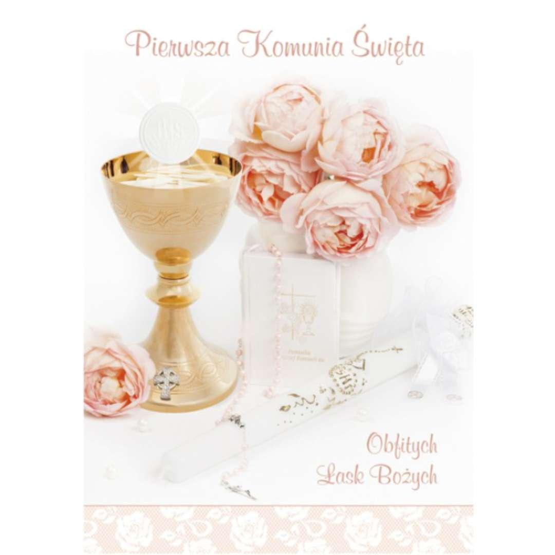 """Pamiątka """"I Komunia Św.- Kielich i róże"""", Pol-Maki, 17x12 cm"""